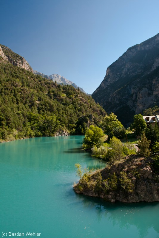 Aufgestauter Fluss Guil, Combe du Queyras, Französische Alpen
