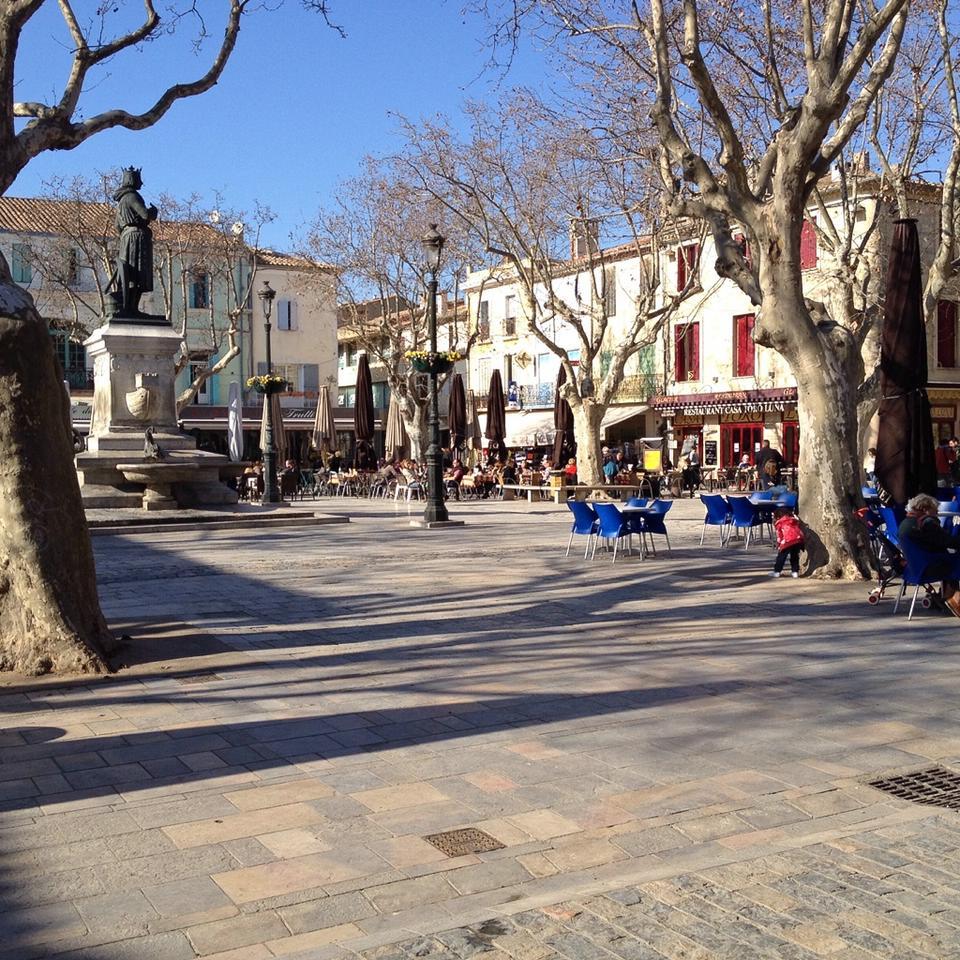 Platz im Zentrum von Aigues-Mortes mit einer Statue von Ludwig IX.