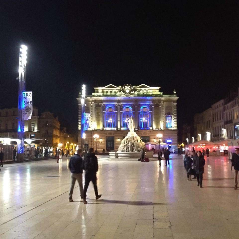 Montpellier am Abend, Opera - Comédie