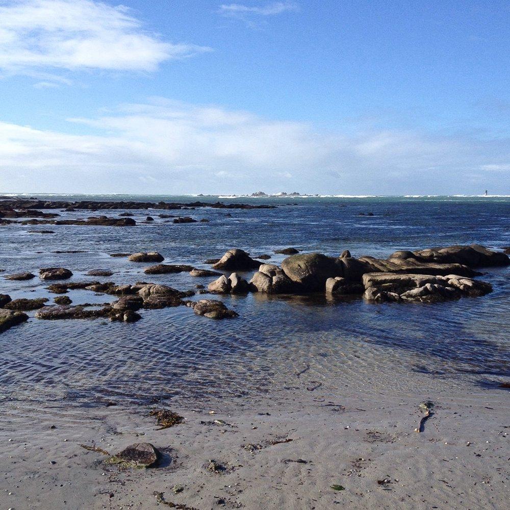 Blick auf das Meer, der Atlantik bei Penmarch