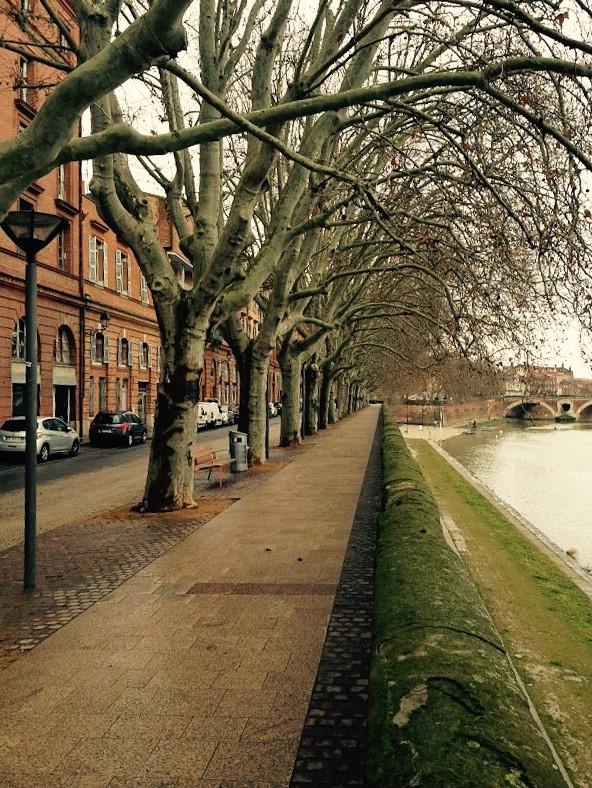 Straße am Ufer der Garonne in Toulouse